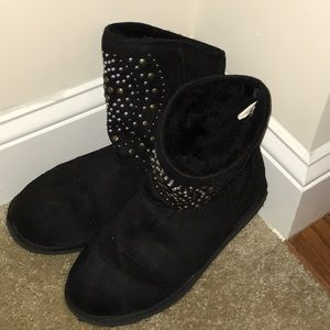 Black Boots Soft Mid Size With Jewels Womens